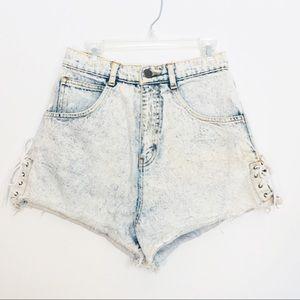 Pants - Vintage DEB High Waist Acid Washed Denim Shorts 22